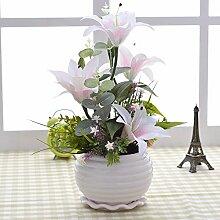 XHOPOS HOME Künstliche Pflanzen Künstliche Blumen Topfpflanzen Wohnzimmer weiße Lilie Blumenschmuck Home Zimmer Büro dekoratives Zubehör