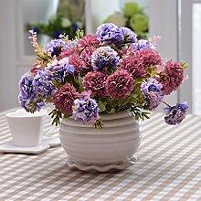 XHOPOS HOME Künstliche Pflanzen Künstliche Blumen Topfpflanzen Wohnzimmer Purple Carnation Blumenschmuck Home Zimmer Büro dekoratives Zubehör