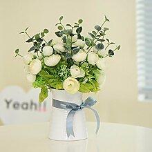 XHOPOS HOME Künstliche Pflanzen Künstliche Blumen Topfpflanzen Wohnzimmer Weiß Blumenarrangements Home Zimmer Büro dekoratives Zubehör