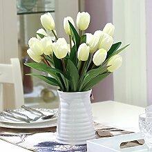 XHOPOS HOME Künstliche Pflanzen Künstliche Blumen Tulpe Weiß Blumenarrangements Home Zimmer Büro dekoratives Zubehör