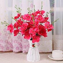 XHOPOS HOME Künstliche Pflanzen Künstliche Blumen Wohnzimmer Outdoor Rote Orchidee Blumenschmuck Home Zimmer Büro dekoratives Zubehör