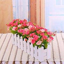 XHOPOS HOME Künstliche Pflanzen Künstliche Blumen Zaun Garten und Outdoor Rosa Blumenarrangements Home Zimmer Büro dekoratives Zubehör