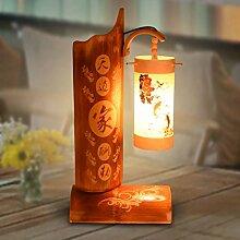 XHOPOS HOME Tischleuchte Tischlampe Nachttisch Lampen Retro Holz chinesischen Stil Dekoration Lampen
