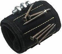 xhorizon Magnetarmband justierbar Werkzeug Armband für Halten der Schraube, Nagel, Bohrer, das beste Werkzeuggeschenk für Heimwerken Heimwerker (Schwarz)