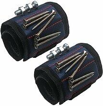 xhorizon Magnetarmband justierbar Werkzeug Armband für Halten der Schraube, Nagel, Bohrer, das beste Werkzeuggeschenk für Heimwerken Heimwerker (2 Packung-Blau)