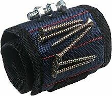 xhorizon Magnetarmband justierbar Werkzeug Armband für Halten der Schraube, Nagel, Bohrer, das beste Werkzeuggeschenk für Heimwerken Heimwerker (Blau)