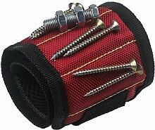 xhorizon Magnetarmband justierbar Werkzeug Armband für Halten der Schraube, Nagel, Bohrer, das beste Werkzeuggeschenk für Heimwerken Heimwerker (Rote)