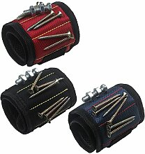 xhorizon Magnetarmband justierbar Werkzeug Armband für Halten der Schraube, Nagel, Bohrer, das beste Werkzeuggeschenk für Heimwerken Heimwerker (3 Packung-Schwarz+Rote+Blau)