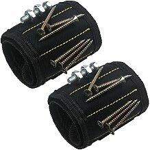 xhorizon Magnetarmband justierbar Werkzeug Armband für Halten der Schraube, Nagel, Bohrer, das beste Werkzeuggeschenk für Heimwerken Heimwerker (2 Packung-Schwarz)