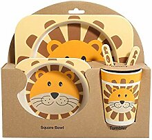 Xhtoe Teller 5 Stück Kinder Cute Lion Dinner Set