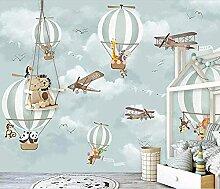 XHXI 3D fototapete Cartoon Luftballon Flugzeug