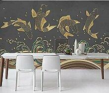 XHXI Golden Relief Seitenwand Tapete Linie Fisch
