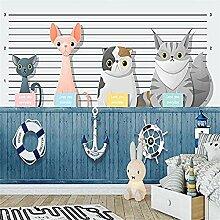 XHXI Nordic Cute Cartoon Cats Tierkunstdruck