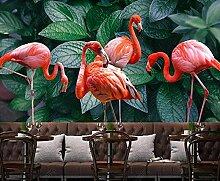 XHXI Pflanze Flamingo Vlies Tapete 3D Tapete