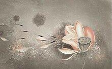 XHXI Retro Tinte Seitenwand Tapete Lotus Schöne
