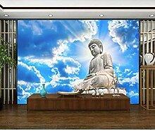 XHXI Tapete Blauer Himmel mit weißen Wolken Stein