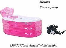 XIA Aufblasbare Badewanne Blau Rosa PVC 160 * 90 * 75 cm (Länge * Breite * Höhe) 130 * 75 * 70 cm (Länge * Breite * Höhe) Handpumpe Elektrische Pumpe Komfortable Sommer Kind Erwachsene ( Farbe : Pink-A , größe : Mittel )