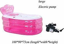 XIA Aufblasbare Badewanne Blau Rosa PVC 160 * 90 * 75 cm (Länge * Breite * Höhe) 130 * 75 * 70 cm (Länge * Breite * Höhe) Handpumpe Elektrische Pumpe Komfortable Sommer Kind Erwachsene ( Farbe : Pink-A , größe : Große )