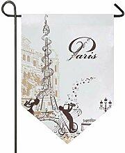 XiangHeFu Garten Flagge Eiffelturm dekoriert mit