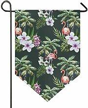XiangHeFu Garten Flagge Flamingo mit Palm Leaf 12