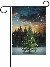 XiangHeFu Garten-Flagge, Weihnachtsbaum, Schnee,
