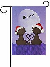 XiangHeFu Garten-Flagge, Weihnachtspaar, Katze,