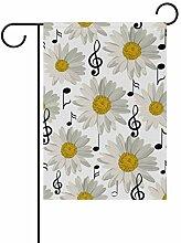 XiangHeFu Gartenflagge mit Musiknoten-Blumen,