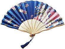 XIAOHAIZI Handfächer,Pflanze Blume Blau