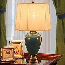 XIAOJIA Tischleuchte Schlafzimmer Bett Tischleuchte, American Lampenschirm, einfache Studie Home Creative Wedding Gift Keramik Lampe