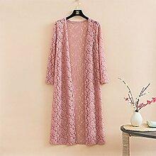 xiaojian& Sonnenschutz-Kleidung hohle Spitze Strickjacke langen Abschnitt außerhalb langer dünner Abschnitt, large size xxxxl, bare pink