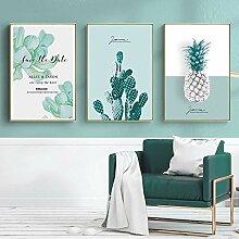XIAOJIE0104 Grüne Pflanze Ananas Kaktus Wandkunst