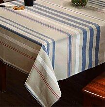 XIAOMEIXI Einfache Streifen Stil Baumwolle Leinen Stoff Tischdecke Tisch decken für Esszimmer Familienzimmer Tabletop Dekoration mehrere Größen , 70*70cm