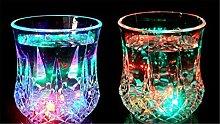 XIAOMEIXI Kreative LED Induktion buntes Entfärbungs Unbreakable Stemless Weinglas Flexible Shatterproof Recycelbar Flashing Bierkrug-Getränk-Schale für Partei Dekorative 2ST