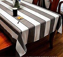 XIAOMEIXI Moderne schwarz und weiß gestreifte Baumwolle Polyester Stoff Tischdecke Tischdecke für Küche Tischplatte Dekoration Mehrere Größen , 140*220cm