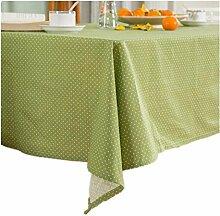 XIAOMEIXI Tischdecke Grüne Punkte 100 % Baumwolle Stoffbezug Tischdecke Tisch für Esszimmer Familienzimmer Tabletop Dekoration , 140*210cm