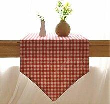 XIAOMEIXI Tischläufer Bettwäsche Tisch Läufer einfache Gitter Design Baumwollstoff Wandteppich für Küche Home Decor mehrere Größen rot , 32*220cm