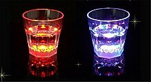 XIAOMEIXI Unbreakable Stemless Wein Bunte Verfärbungs Gläser Weinglas Flexible Shatterproof Recycelbar Flashing Bierkrug-Getränk-Schale für Partei Dekorative 2ST