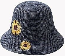 XIAOYAN Hüte Mützen handgemachte Rafi Strohhut Frauen im Freien Sonnenschutz Kappe Strand Hut Sommer Casual Damenmode Beige schwarz braun blau lila Visier Anti-UV Leicht zu tragen ( Farbe : Blau )