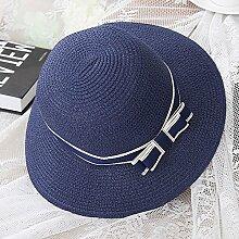 XIAOYAN Hüte Mützen schöne Frau Visor Strohhut zusammenklappbar Portable weiß rosa braun blau Kurzarm Sonnenhut Sonnenschutz Reisen Strand Hut UV-Schutz Leicht zu tragen ( Farbe : Blau )