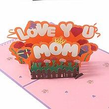 XIDAJIE Pop Up Karten 3D Blume Muttertag