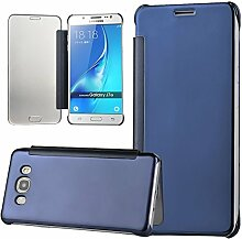 xifanzi Spiegel Hülle für Galaxy J7 (2016)/ J710 Flip Blau Klapphülle Mirror Oberfläche Kunststoff Rückseite Dünn Kristall Transparent KlarFolio Etui Schutzhülle Tasche Case Cover für Samsung Galaxy J7 (2016)/ J710