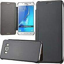 xifanzi Spiegel Hülle für Galaxy J7 (2016)/ J710 Flip Schwarz Klapphülle Mirror Oberfläche Kunststoff Rückseite Dünn Kristall Transparent KlarFolio Etui Schutzhülle Tasche Case Cover für Samsung Galaxy J7 (2016)/ J710