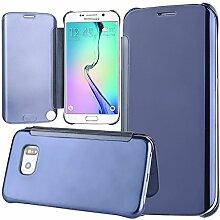 xifanzi Spiegel Hülle für Galaxy S6 edge Flip Blau Klapphülle Mirror Oberfläche Kunststoff Rückseite Dünn Kristall Transparent KlarFolio Etui Schutzhülle Tasche Case Cover für Samsung Galaxy S6 edge