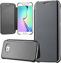 xifanzi Spiegel Hülle für Galaxy S6 Flip Schwarz Klapphülle Mirror Oberfläche Kunststoff Rückseite Dünn Kristall Transparent KlarFolio Etui Schutzhülle Tasche Case Cover für Samsung Galaxy S6