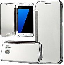 xifanzi Spiegel Hülle für Galaxy S7 edge Flip Silber Klapphülle Mirror Oberfläche Kunststoff Rückseite Dünn Kristall Transparent KlarFolio Etui Schutzhülle Tasche Case Cover für Samsung Galaxy S7 edge