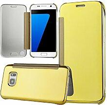 xifanzi Spiegel Hülle für Galaxy S7 Flip Gelb Klapphülle Mirror Oberfläche Kunststoff Rückseite Dünn Kristall Transparent KlarFolio Etui Schutzhülle Tasche Case Cover für Samsung Galaxy S7