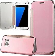xifanzi Spiegel Hülle für Galaxy S7 Flip Rose Gold Klapphülle Mirror Oberfläche Kunststoff Rückseite Dünn Kristall Transparent KlarFolio Etui Schutzhülle Tasche Case Cover für Samsung Galaxy S7