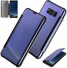 xifanzi Spiegel Hülle für Galaxy S8 Flip Blau Klapphülle Mirror Oberfläche Kunststoff Rückseite Dünn Kristall Transparent KlarFolio Etui Schutzhülle Tasche Case Cover für Samsung Galaxy S8