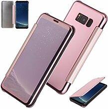 xifanzi Spiegel Hülle für Galaxy S8 Flip Rose Gold Klapphülle Mirror Oberfläche Kunststoff Rückseite Dünn Kristall Transparent KlarFolio Etui Schutzhülle Tasche Case Cover für Samsung Galaxy S8