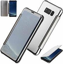 xifanzi Spiegel Hülle für Galaxy S8 Flip Silber Klapphülle Mirror Oberfläche Kunststoff Rückseite Dünn Kristall Transparent KlarFolio Etui Schutzhülle Tasche Case Cover für Samsung Galaxy S8
